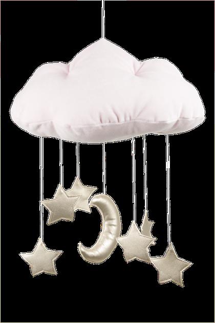 Puderrosa sängmobil moln med guldstjärnor, Cotton & Sweets