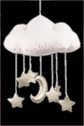Ljusrosa sängmobil moln med guldstjärnor, Cotton & Sweets