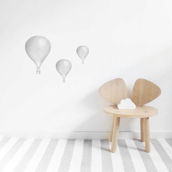 Ljusgrå Luftballonger väggklistermärken, Stickstay Ljusgrå Luftballonger väggklistermärken, Stickstay
