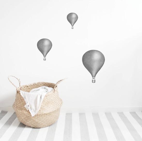 Grafitgråa Luftballonger väggklistermärken, Stickstay Grafitgråa Luftballonger väggklistermärken, Stickstay