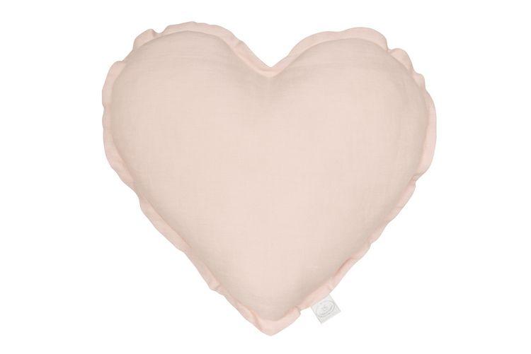 Kudde puderrosa hjärta av linne, Cotton&Sweets Kudde puderrosa hjärta av linne, Cotton&Sweets