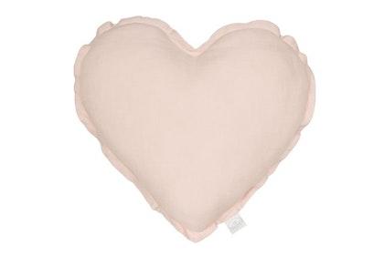 Kudde puderrosa hjärta av linne, Cotton&Sweets