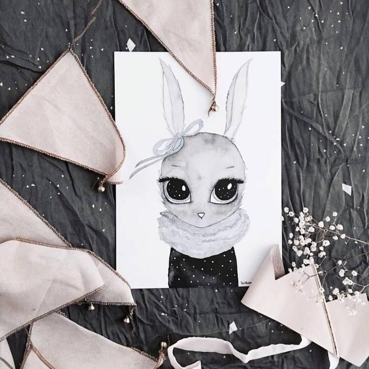 Poster Miss Blue A4, By Christine Hoel, Tavla till barnrummet