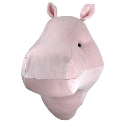 Djurhuvud rosa flodhäst, väggdekoration till barnrummet