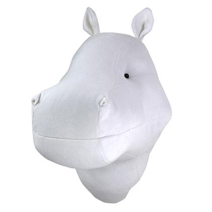 Djurhuvud vit flodhäst, väggdekoration till barnrummet