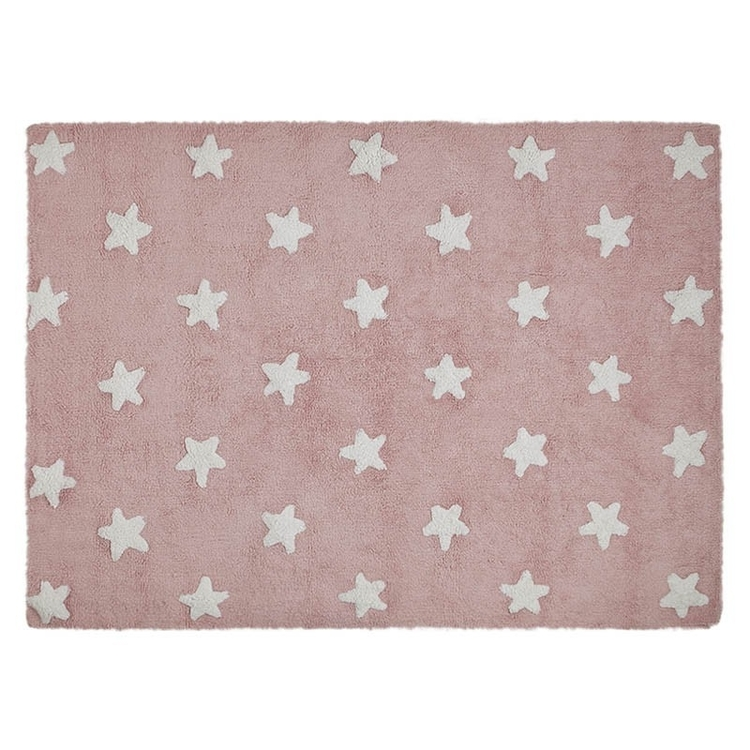 Lorena Canals matta till barnrummet 120 x 160, stars pink/white