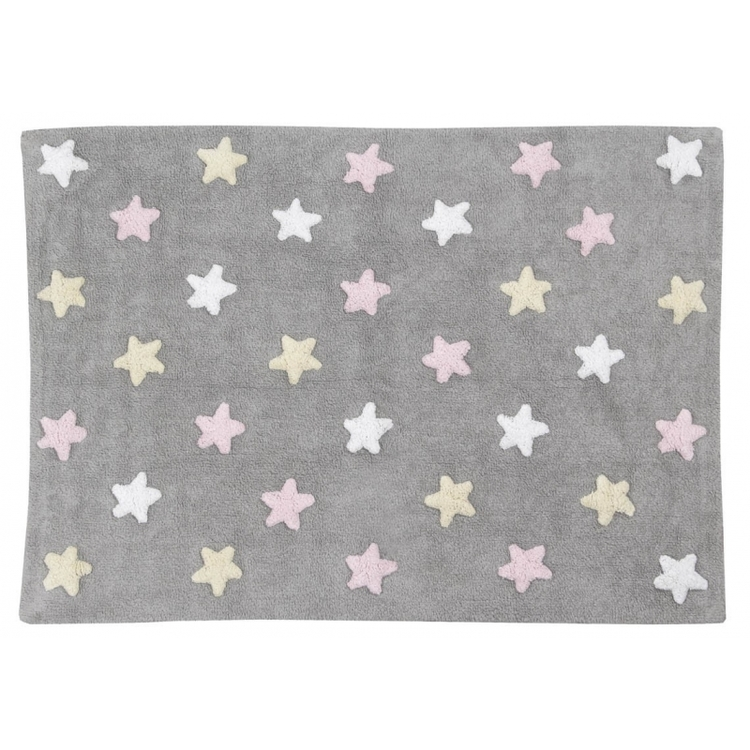 Lorena Canals matta till barnrummet 120 x 160, tricolor stars