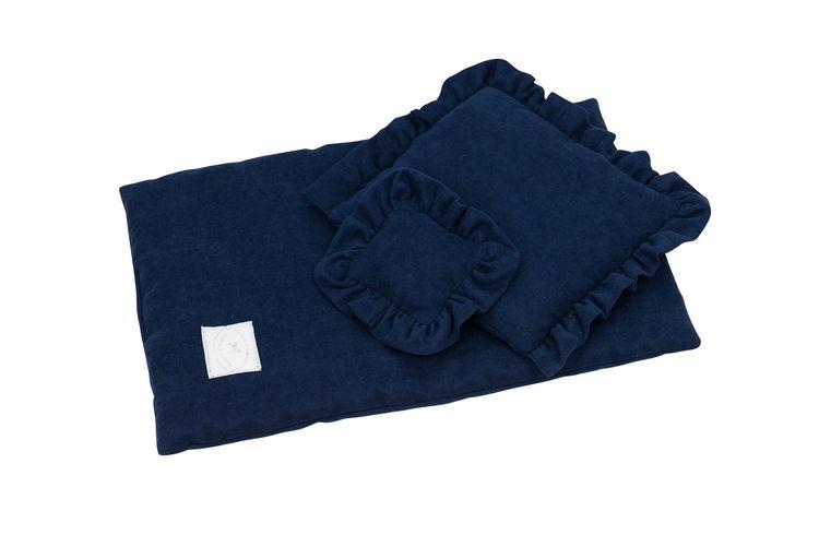 Mörkblå bäddset till docksäng med volang, Cotton&Sweets