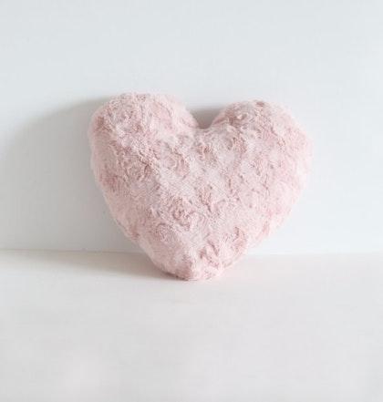 Kudde, lyxigt rosa plyschhjärta, Fayne