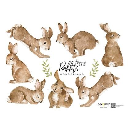Väggklistermärken Kaniner, Happy Wonderland