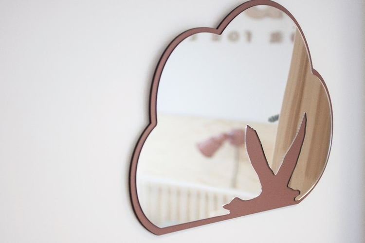 Sebra Spegel Svan, Rosa Rosa spegel till barnrummet