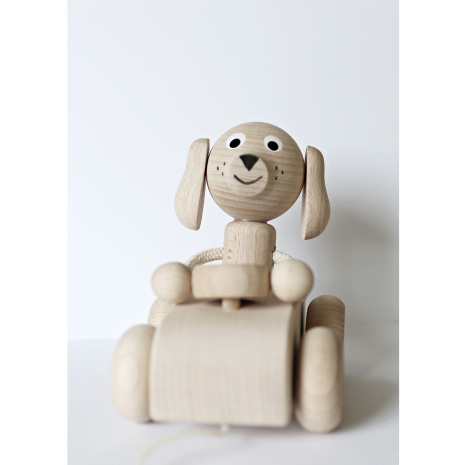 Bertram i bilen, draghund träleksak, Ella & Frederik