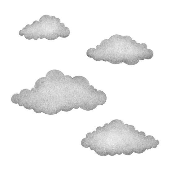 Grafitgrå moln väggklistermärken, Stickstay