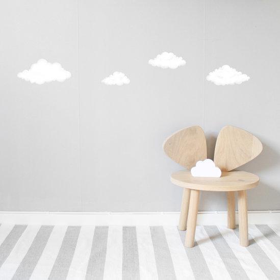 Vita moln väggklistermärken, Stickstay