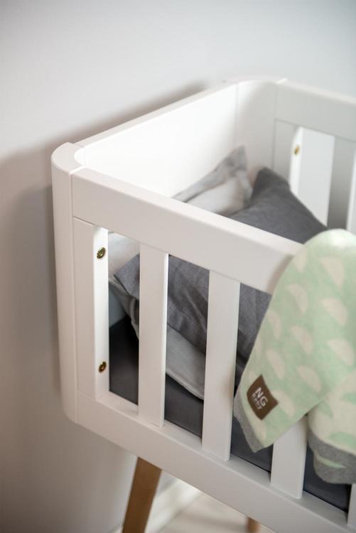 Troll babysäng, retro crib i vitt och trä