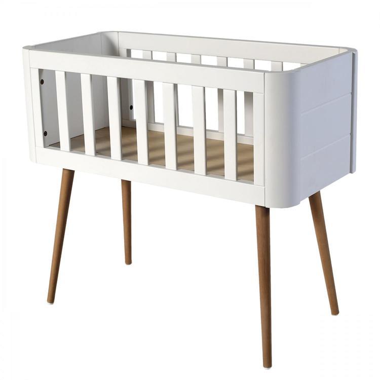 Troll babysäng, retro crib i vitt och trä fin babysäng vagga