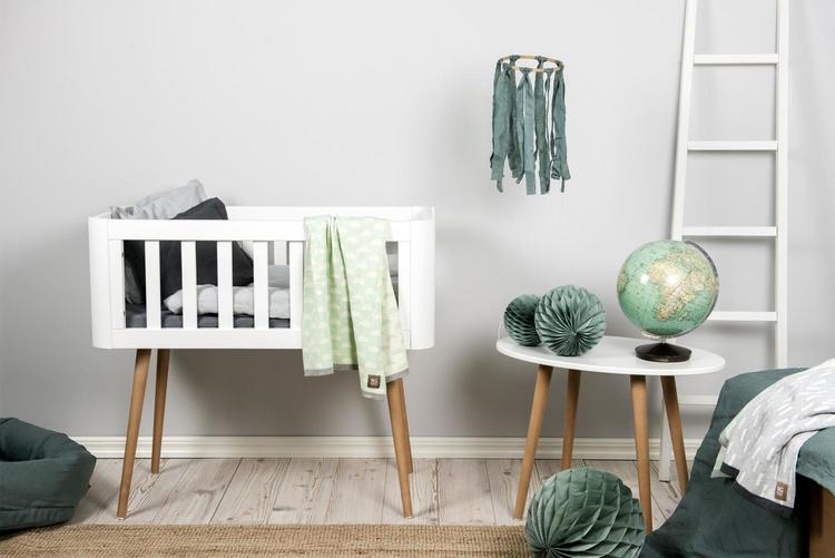 Troll babysäng, retro crib i vitt och trä vitt vagga
