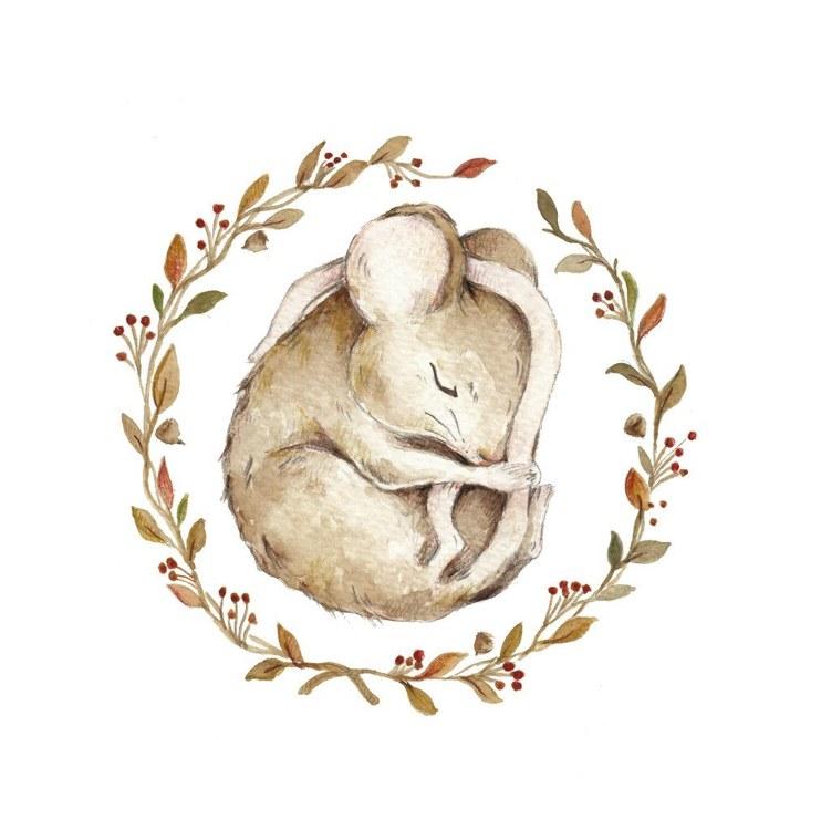 Poster sovande mus, poster till barnrummet