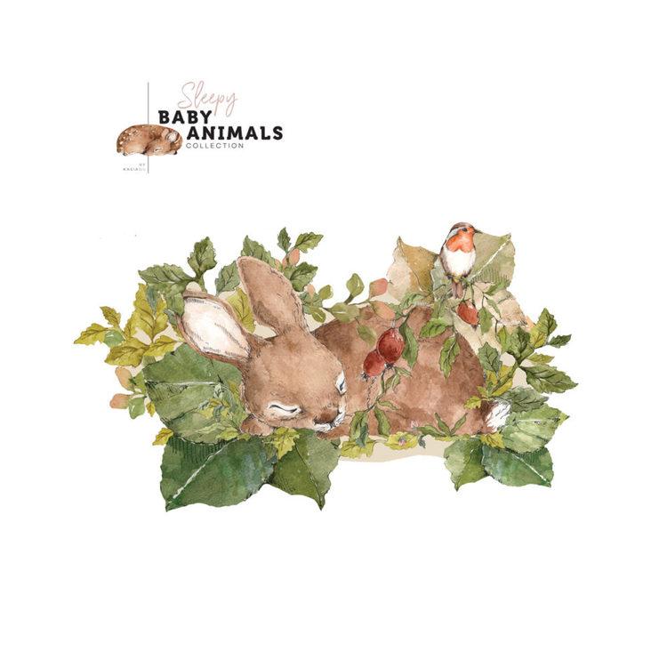 Väggdekor, väggklistermärken sovande kanin