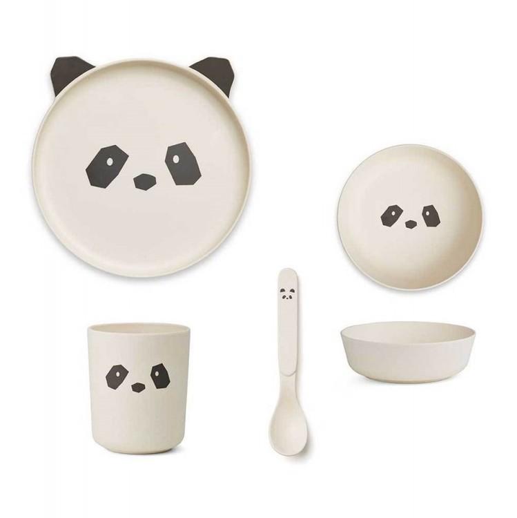 Liewood, matset i bamboo Panda creme de la creme