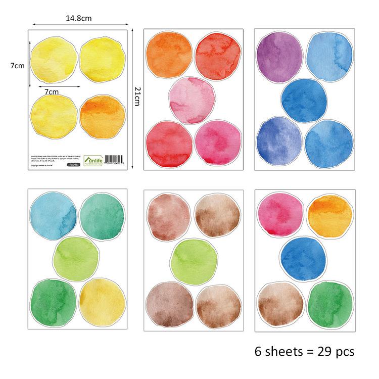 Väggklistermärken färgprickar, set om 29 st