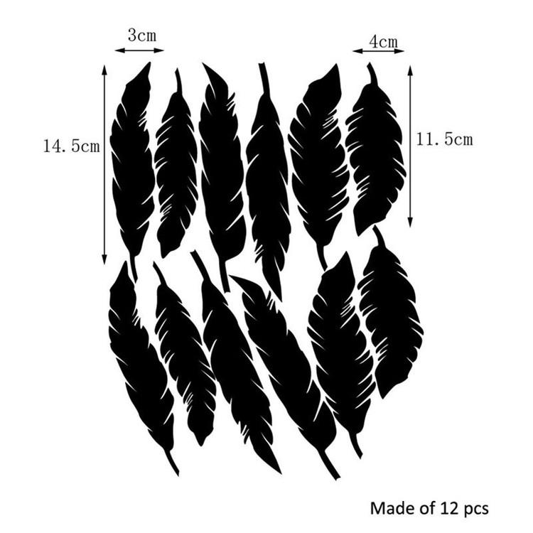 Väggklistermärken vit/grå fjädrar, set om 12 stycken