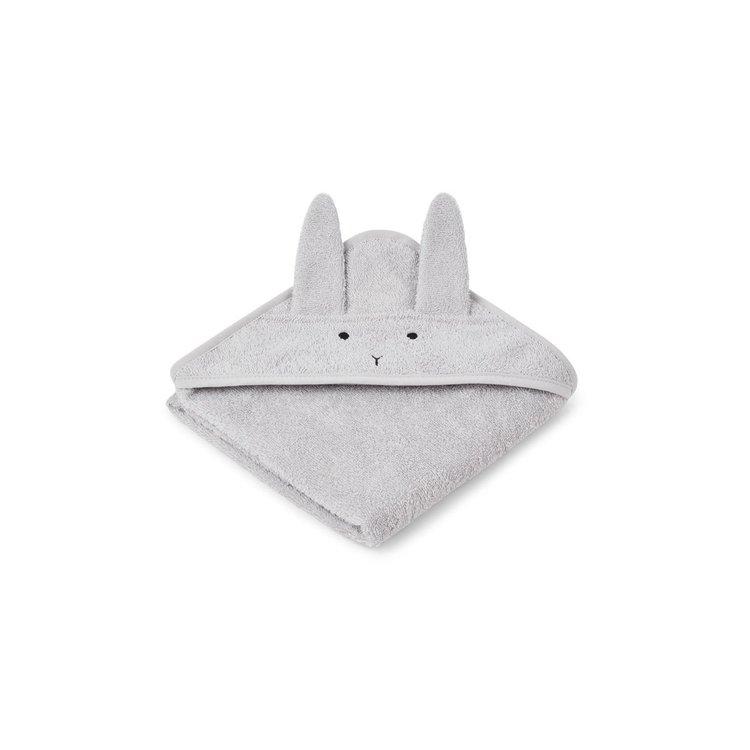 Liewood Albert rabbit grey hooded Towel, handduk med huva för nyfödda