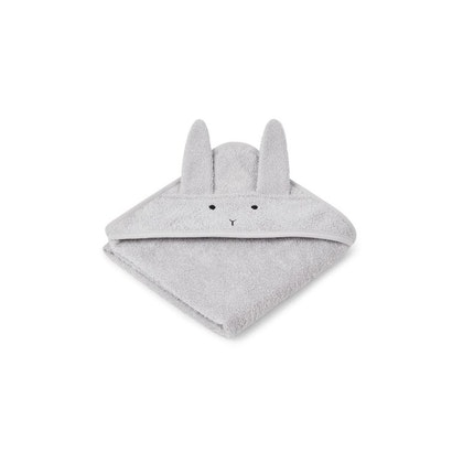 Liewood Albert rabbit grey hooded Towel, handduk med huva för nyfödda