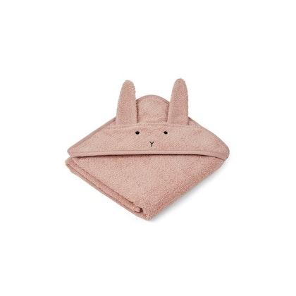 Liewood Albert rabbit rosa hooded Towel, handduk med huva för nyfödda