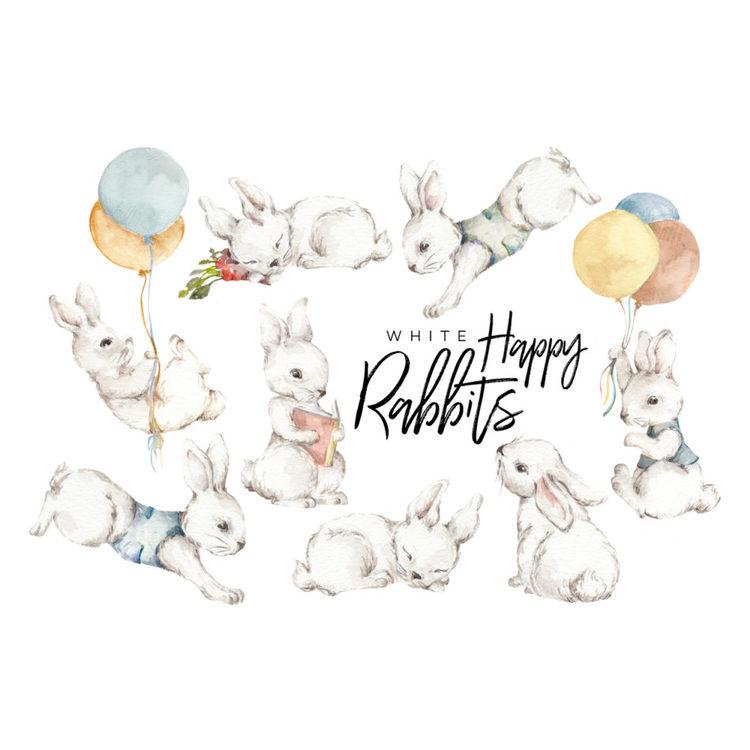 Väggklistermärken Kaniner, White Happy Wonderland