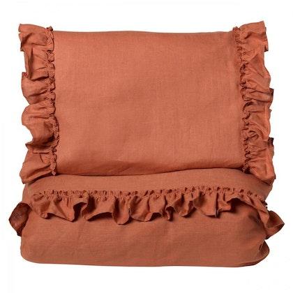 Ng Baby Påslakan av linne med VOLANG, Terracotta