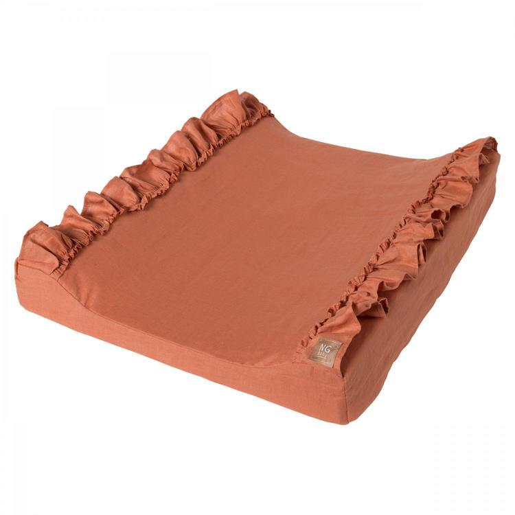 NG Baby Linneskötbädd med volang , terracotta
