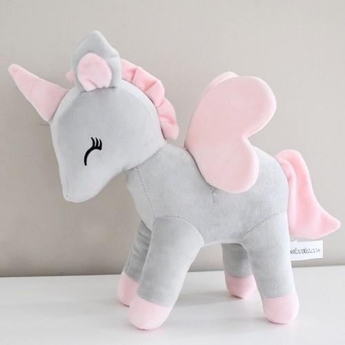 Kramdjur, grå/rosa enhörning XL