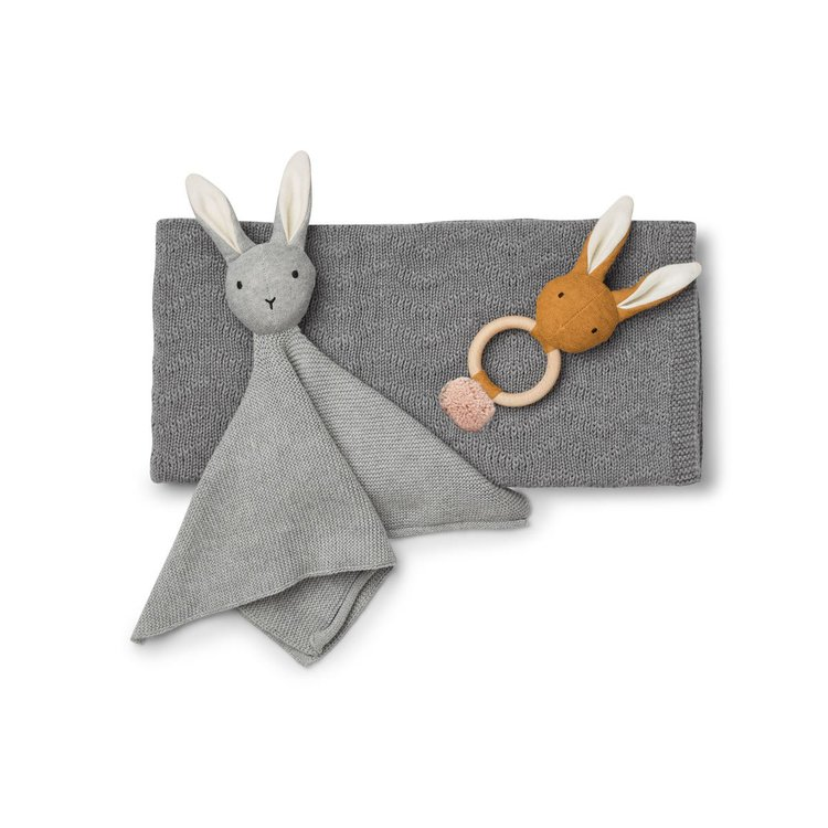 Liewood, baby grå gåvoset (filt, leksak, snuttefilt)