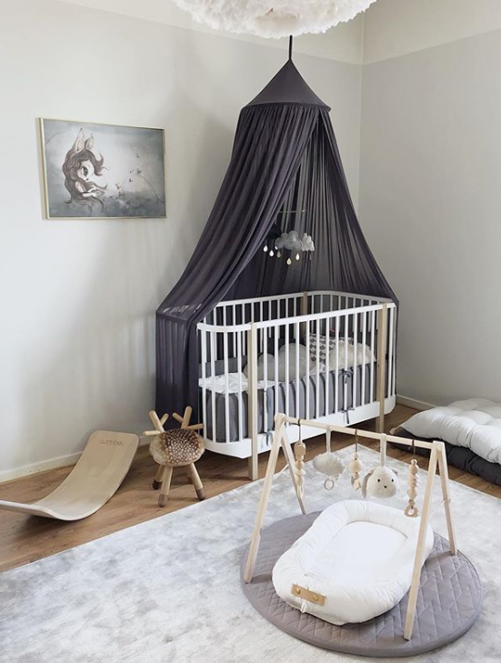 Grafit sänghimmel till barnrummet med ljusslinga, Cotton & Sweets