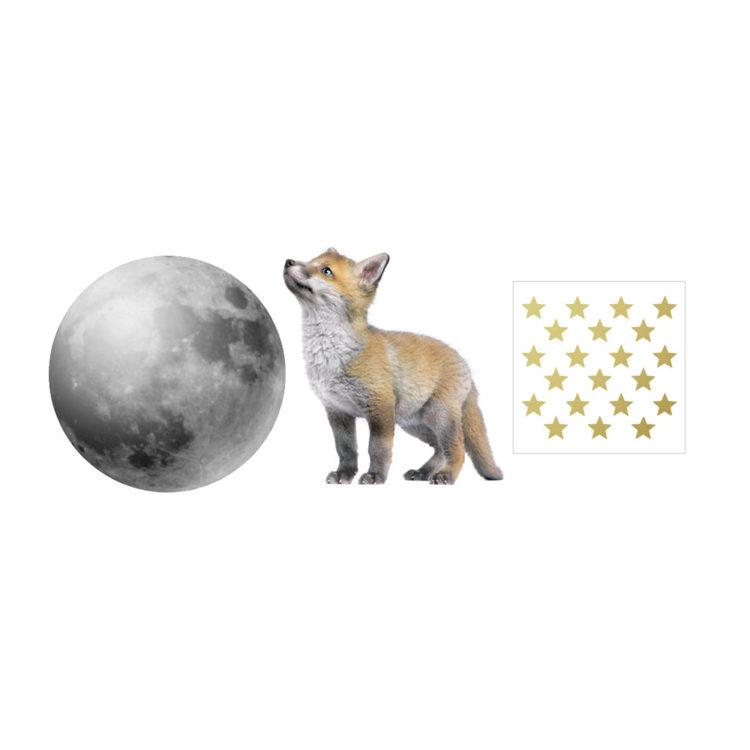 Dekornik, väggklistermärken Räv med måne och stjärnor