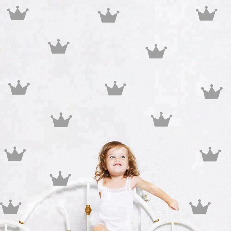 Silver princesskronor väggklistermärken