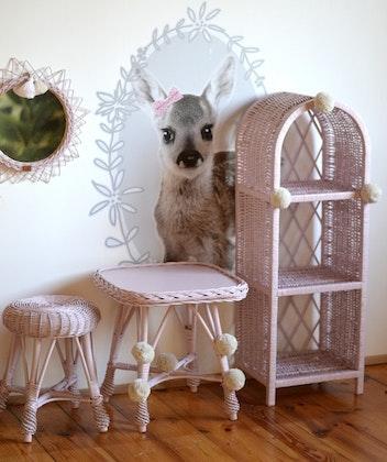 Lilu, liten puderrosa bokhylla till barnrummet