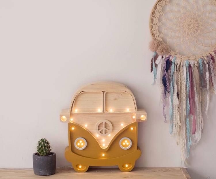 Nattlampa till barnrummet mustard buss lampa, Little Lights