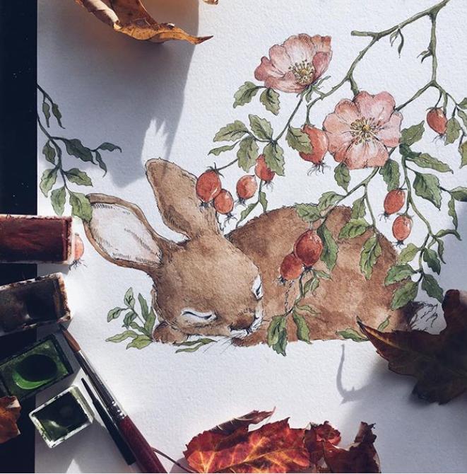 Poster sovande kanin, poster till barnrummet