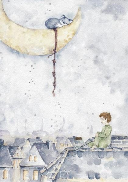 Poster en magisk pojke på taket , poster till barnrummet