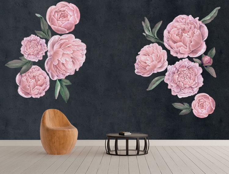 Rosa pioner väggklistermärken,  väggdekoration L