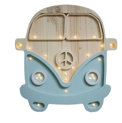 Nattlampa till barnrummet blå buss lampa, Little Lights