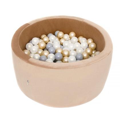 Misioo bollhav med 200 plastbollar, guld sammet