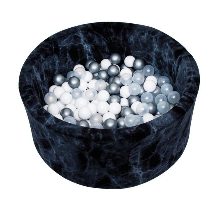 Misioo bollhav med 200 plastbollar, svart marmor