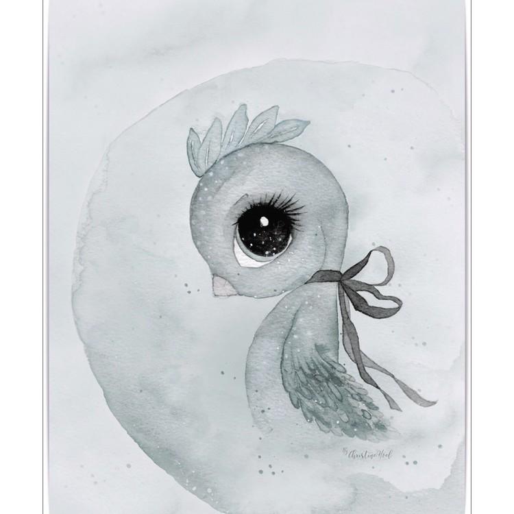 Poster Bird A4, By Christine Hoel, Tavla till barnrummet