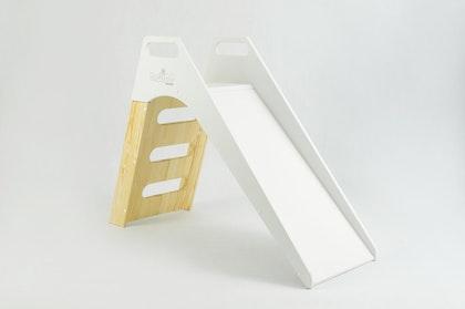 Misioo, vit/träfärgad rutschkana till barnrummet