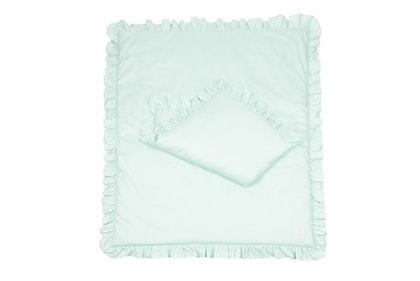 Grön newborn bäddset med kudde och täcke vagga,  Cotton and Sweets