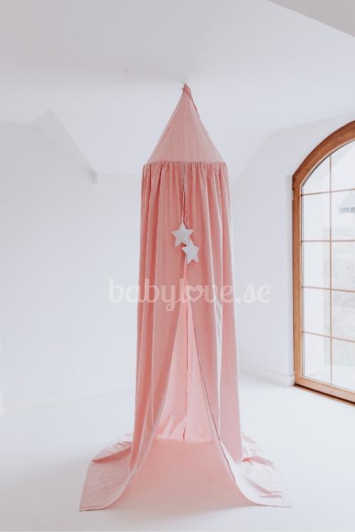Babylove, Puderrosa sänghimmel med ljusslinga rosa sänghimmel till barnrummet