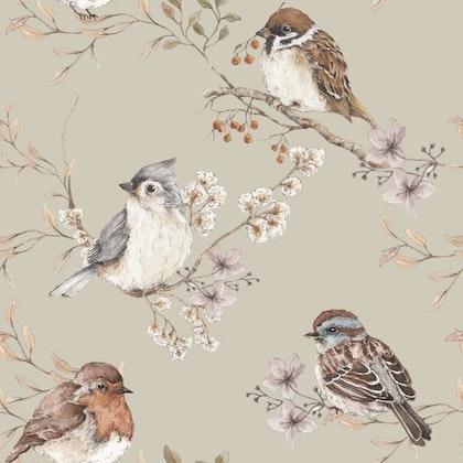 Tapet Birds Green